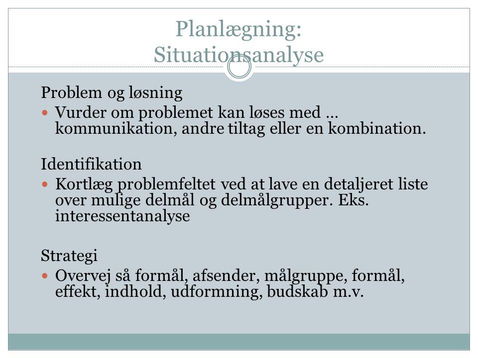 Planlægning: Situationsanalyse