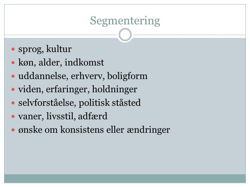 Segmentering sprog, kultur køn, alder, indkomst