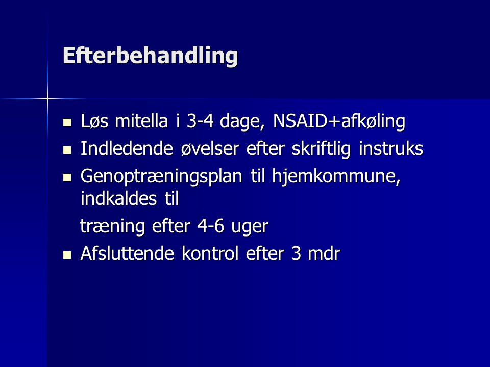 Efterbehandling Løs mitella i 3-4 dage, NSAID+afkøling