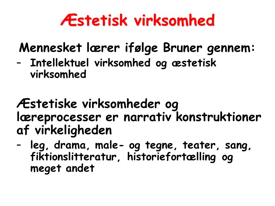Æstetisk virksomhed Mennesket lærer ifølge Bruner gennem: