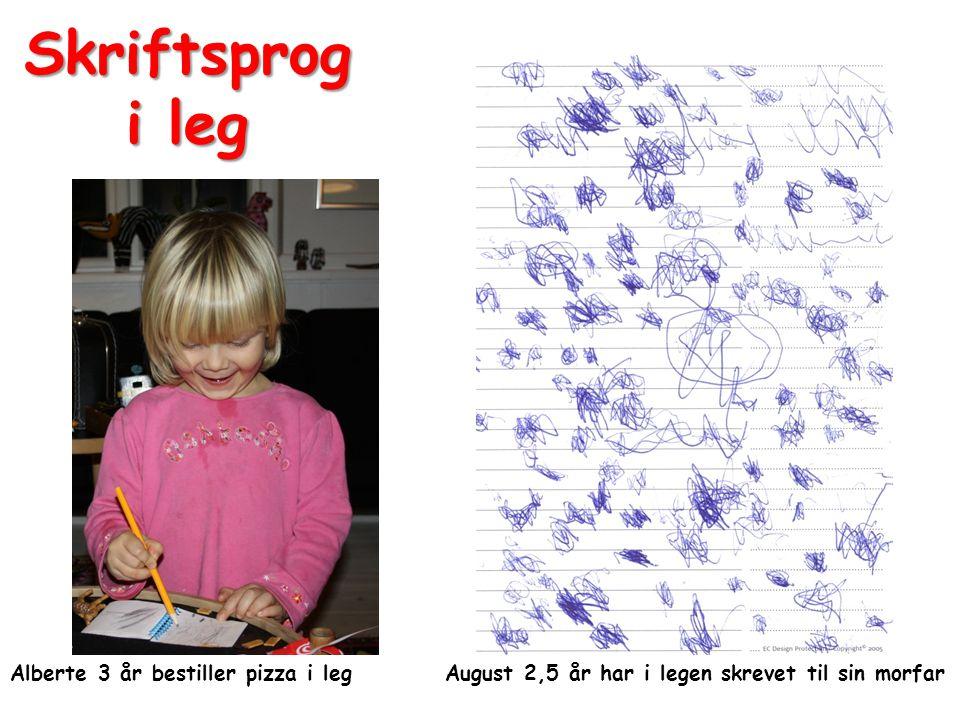 Skriftsprog i leg Alberte 3 år bestiller pizza i leg August 2,5 år har i legen skrevet til sin morfar.