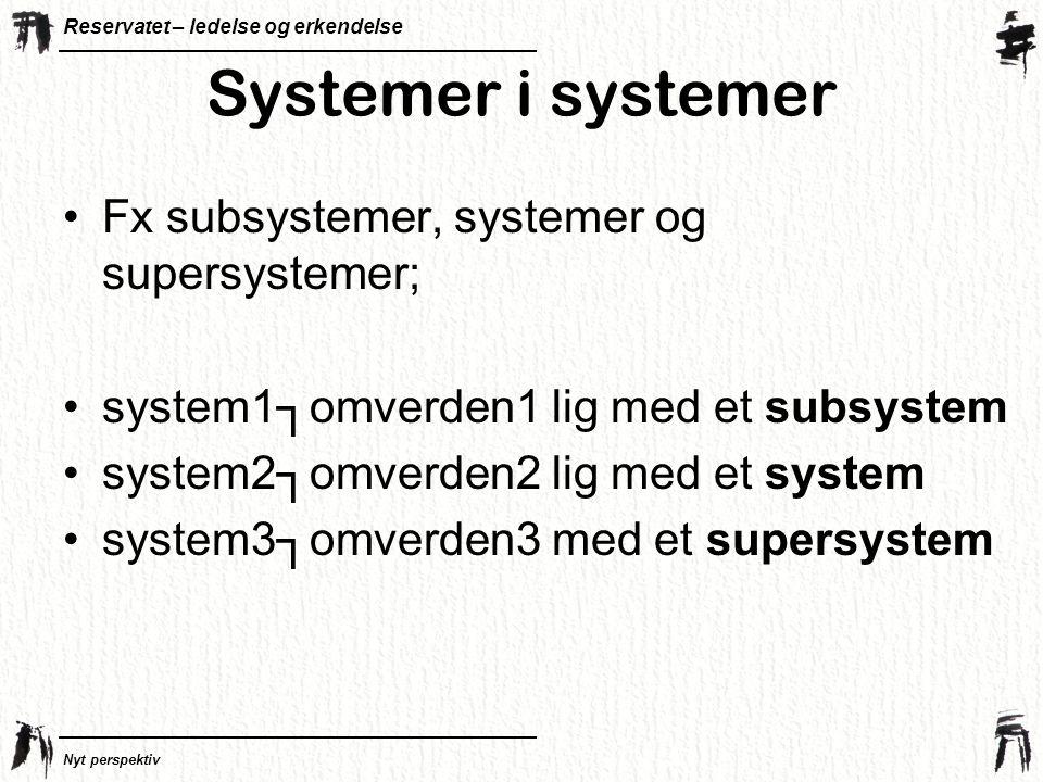 Systemer i systemer Fx subsystemer, systemer og supersystemer;