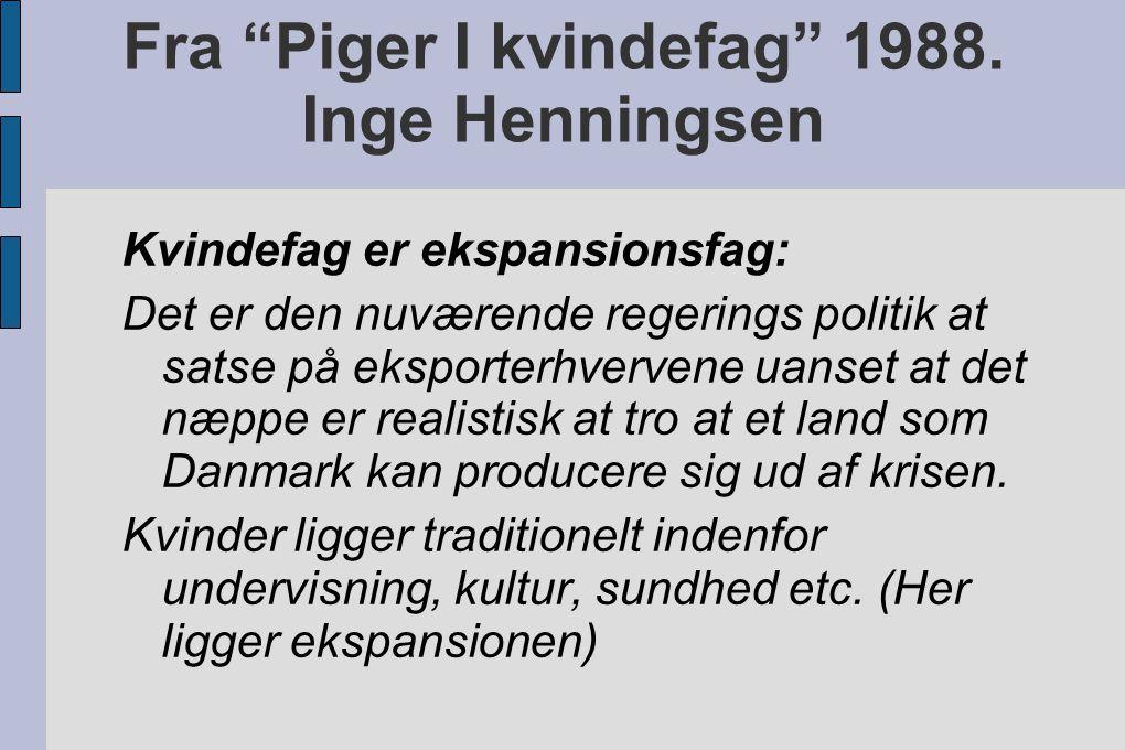Fra Piger I kvindefag 1988. Inge Henningsen