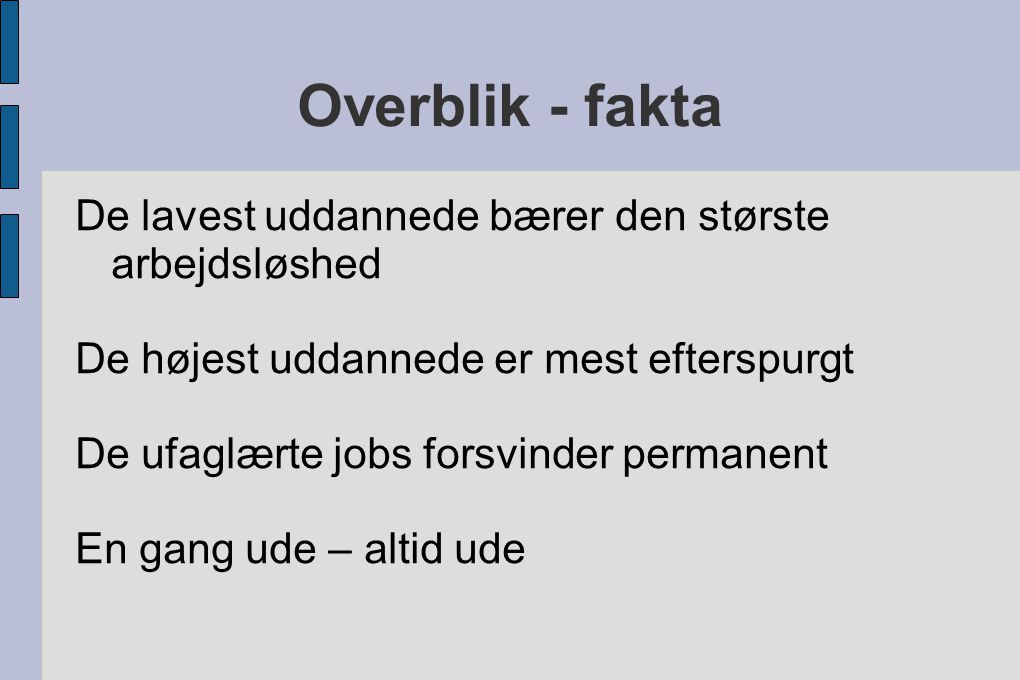 Overblik - fakta De lavest uddannede bærer den største arbejdsløshed
