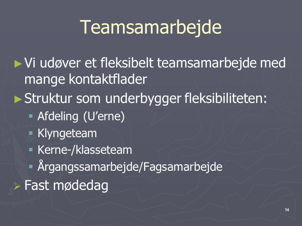 Teamsamarbejde Vi udøver et fleksibelt teamsamarbejde med mange kontaktflader. Struktur som underbygger fleksibiliteten: