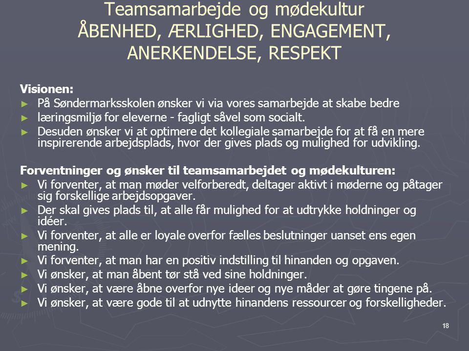 Teamsamarbejde og mødekultur ÅBENHED, ÆRLIGHED, ENGAGEMENT, ANERKENDELSE, RESPEKT