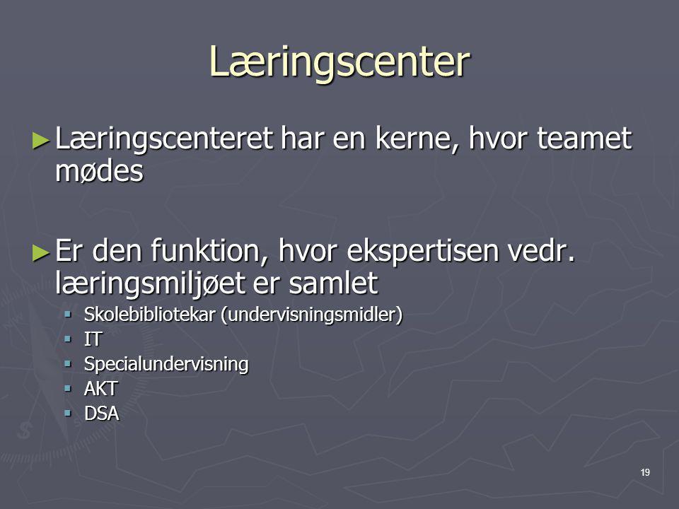 Læringscenter Læringscenteret har en kerne, hvor teamet mødes