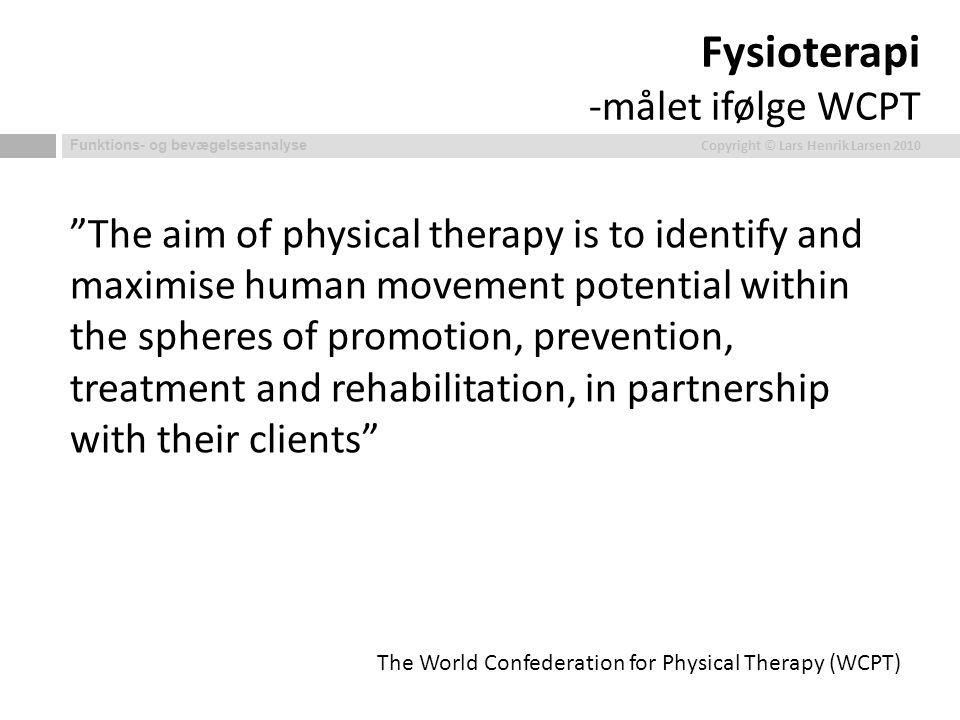 Fysioterapi -målet ifølge WCPT