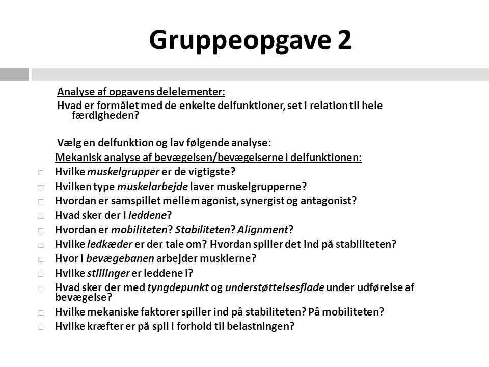Gruppeopgave 2 Analyse af opgavens delelementer:
