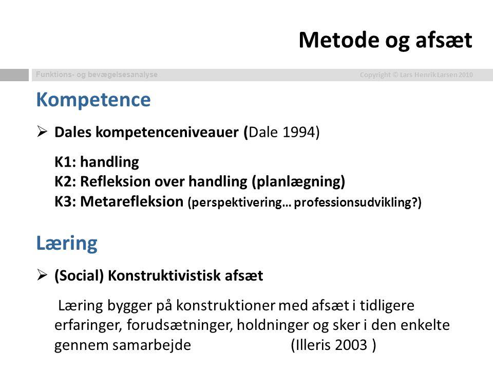 Metode og afsæt Kompetence Læring Dales kompetenceniveauer (Dale 1994)