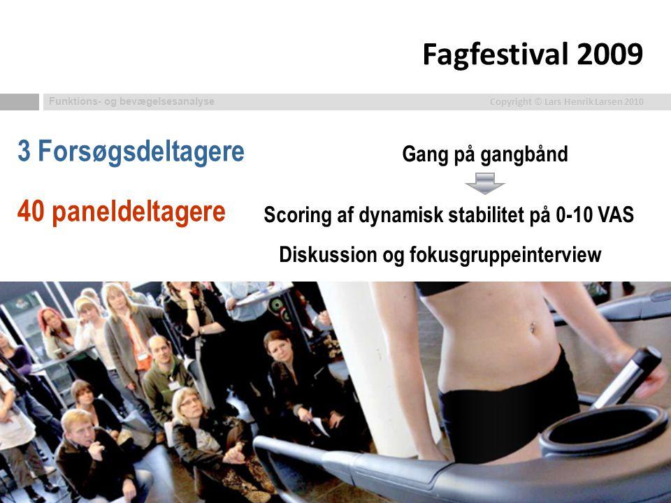 Fagfestival 2009 3 Forsøgsdeltagere 40 paneldeltagere Gang på gangbånd