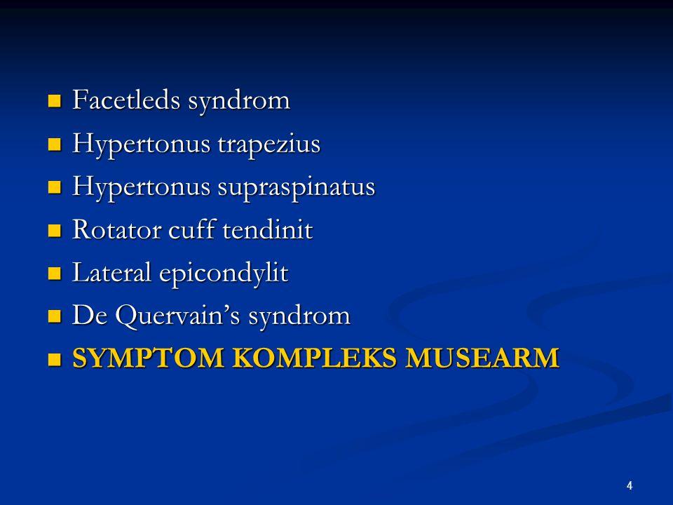 Facetleds syndrom Hypertonus trapezius. Hypertonus supraspinatus. Rotator cuff tendinit. Lateral epicondylit.