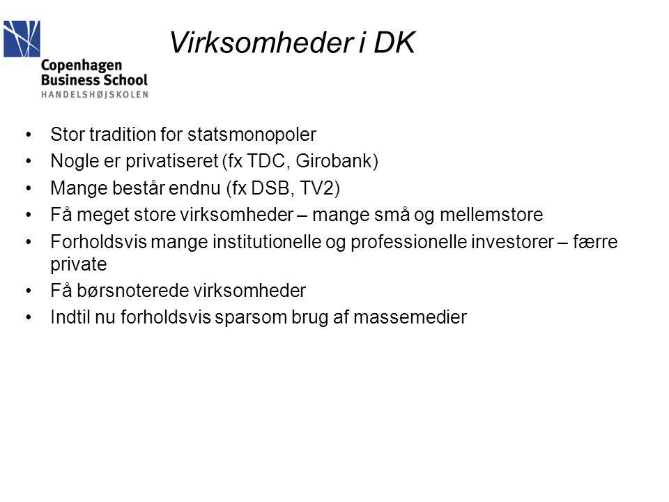Virksomheder i DK Stor tradition for statsmonopoler