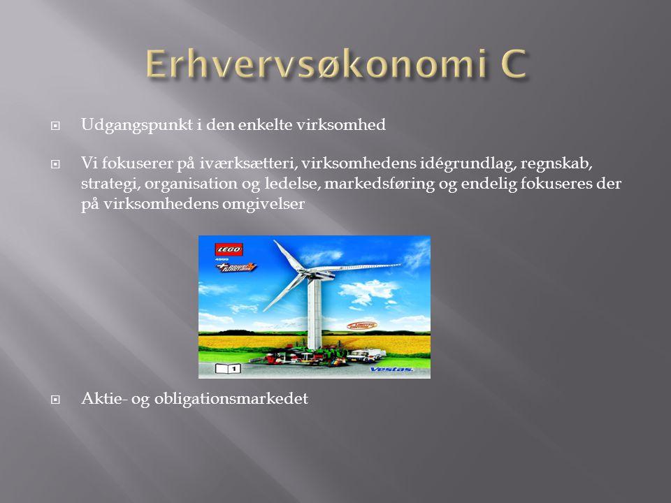 Erhvervsøkonomi C Udgangspunkt i den enkelte virksomhed