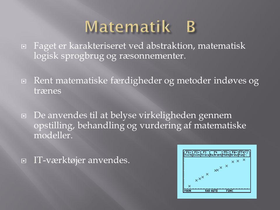 Matematik B Faget er karakteriseret ved abstraktion, matematisk logisk sprogbrug og ræsonnementer.