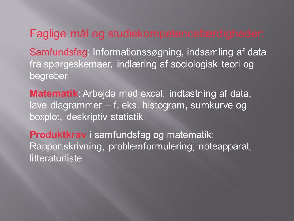 Faglige mål og studiekompetencefærdigheder: