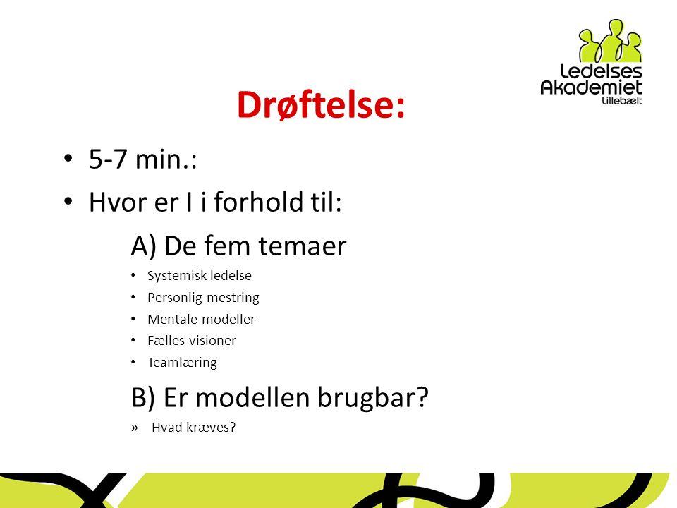 Drøftelse: 5-7 min.: Hvor er I i forhold til: A) De fem temaer