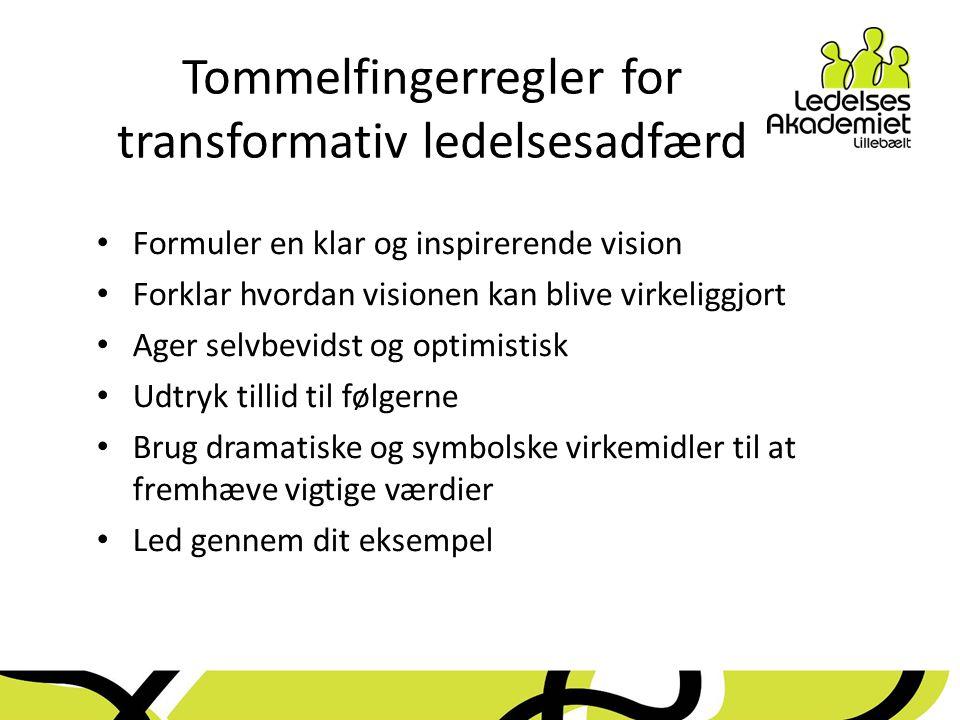 Tommelfingerregler for transformativ ledelsesadfærd