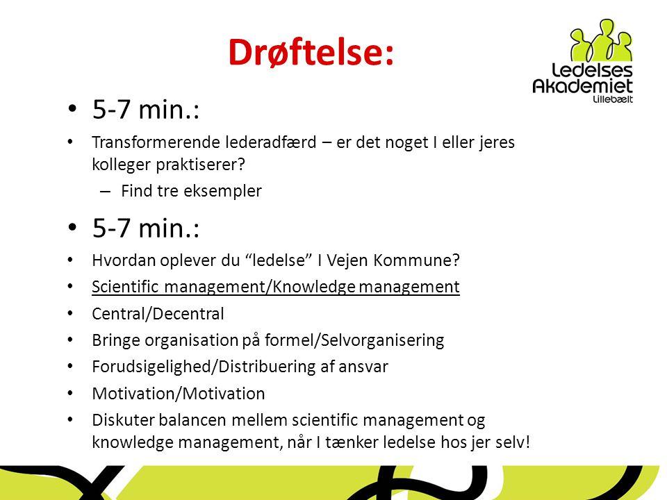 Drøftelse: 5-7 min.: Transformerende lederadfærd – er det noget I eller jeres kolleger praktiserer