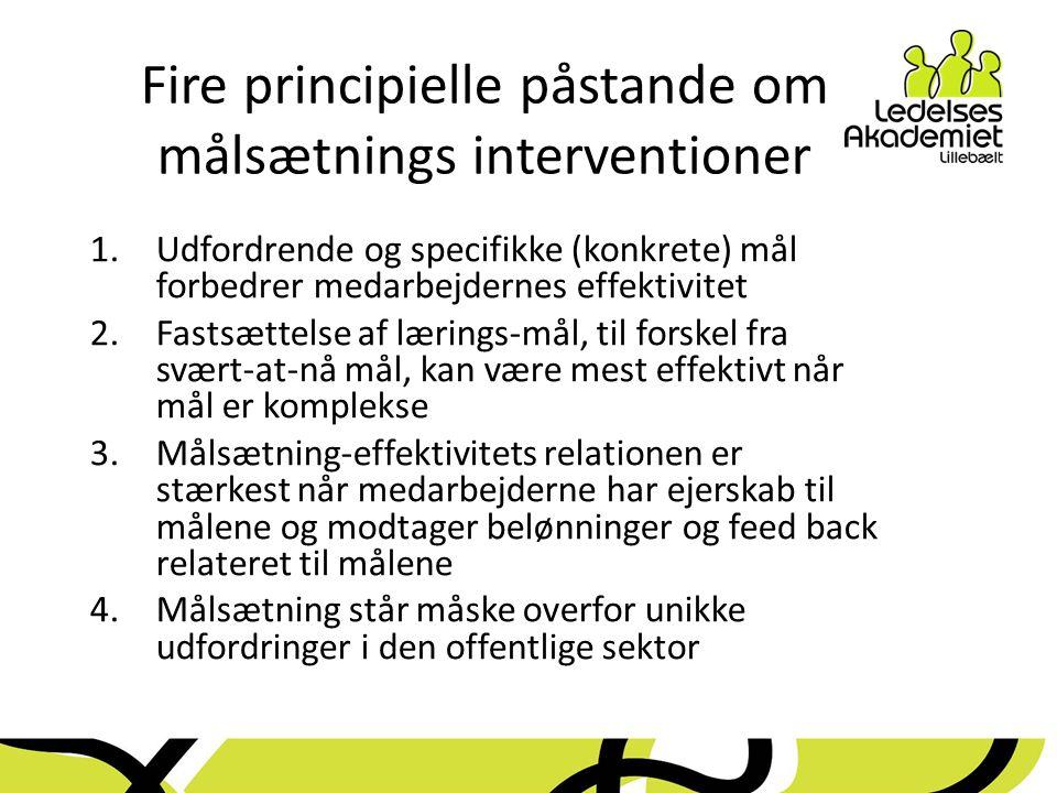 Fire principielle påstande om målsætnings interventioner