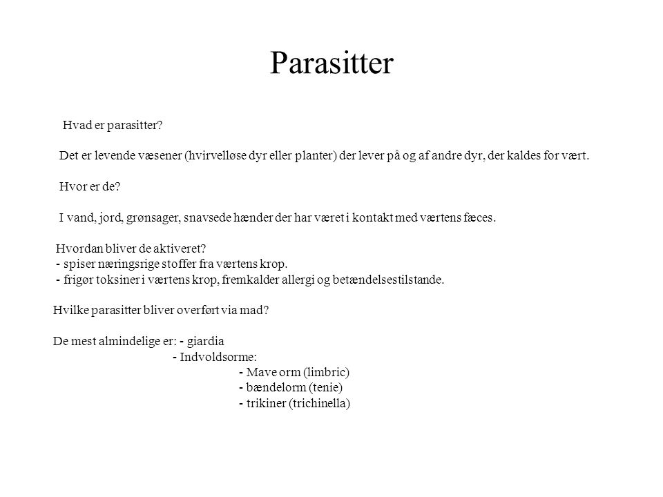 Parasitter Hvad er parasitter
