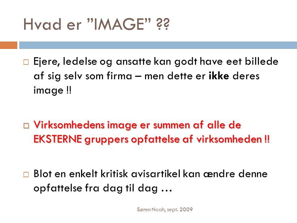 Hvad er IMAGE Ejere, ledelse og ansatte kan godt have eet billede af sig selv som firma – men dette er ikke deres image !!