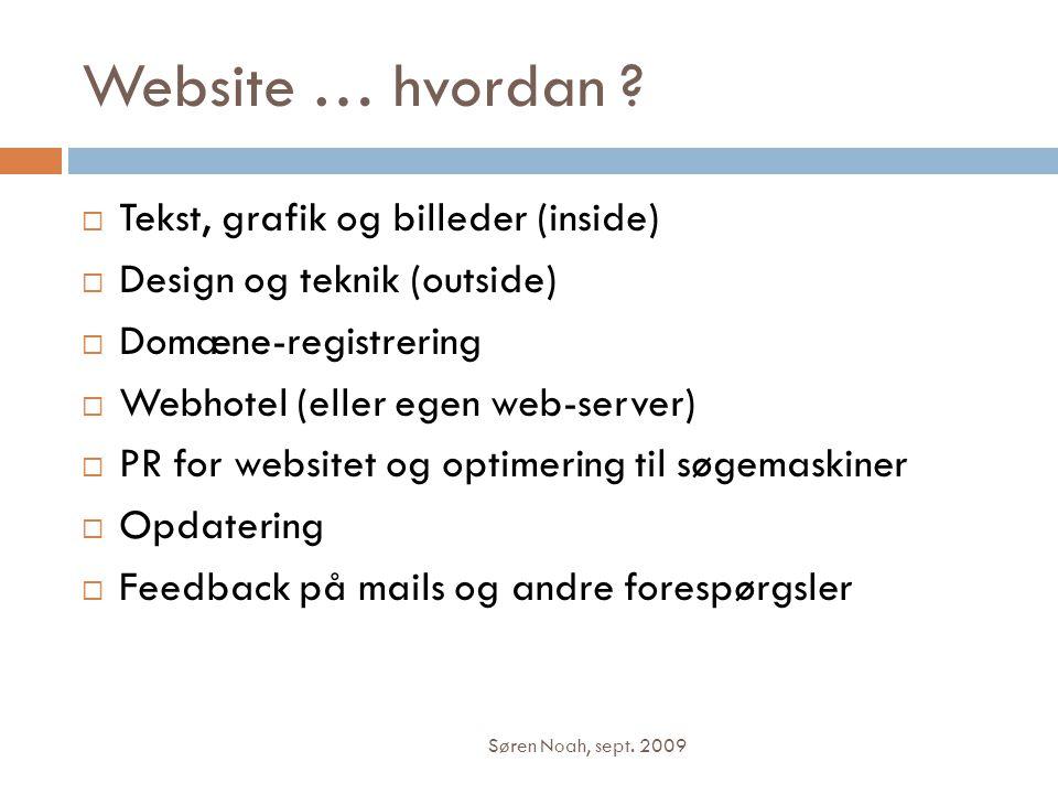 Website … hvordan Tekst, grafik og billeder (inside)