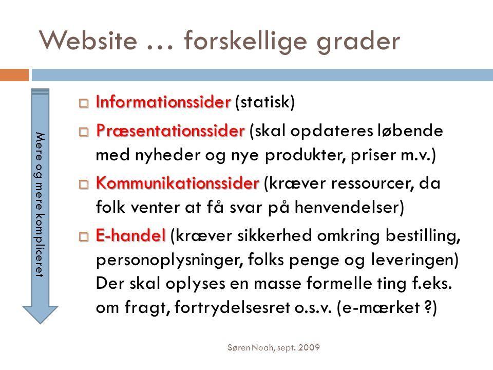 Website … forskellige grader