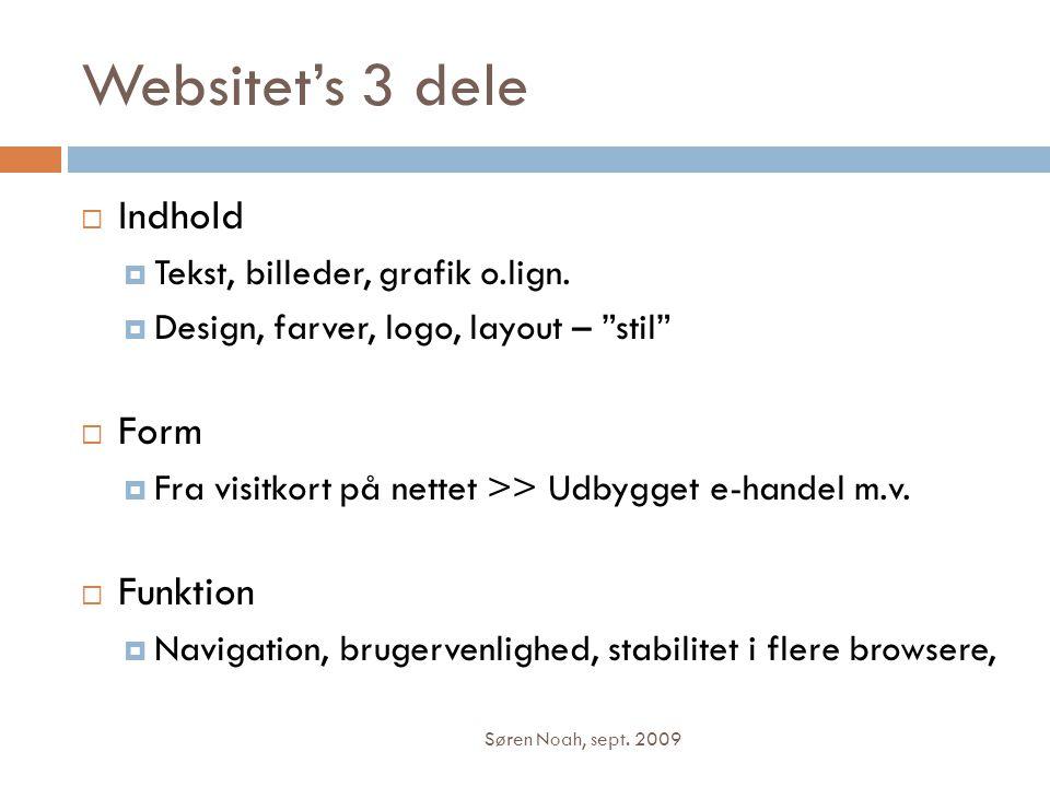 Websitet's 3 dele Indhold Form Funktion