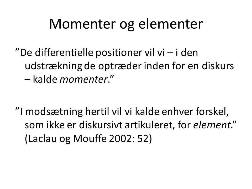 Momenter og elementer