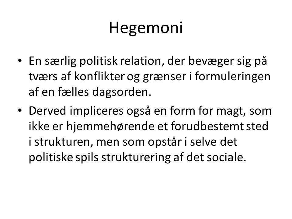 Hegemoni En særlig politisk relation, der bevæger sig på tværs af konflikter og grænser i formuleringen af en fælles dagsorden.