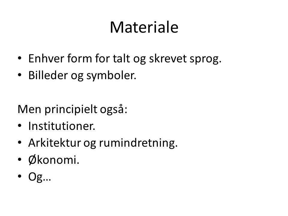 Materiale Enhver form for talt og skrevet sprog. Billeder og symboler.