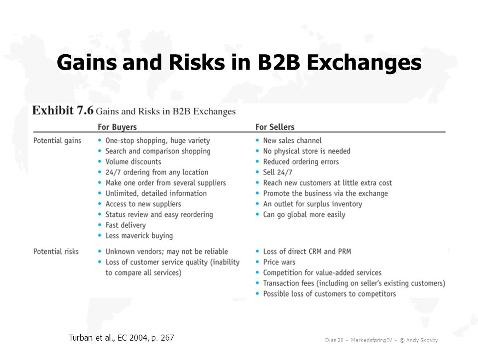 Gains and Risks in B2B Exchanges