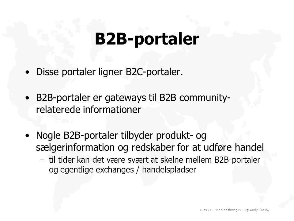 B2B-portaler Disse portaler ligner B2C-portaler.