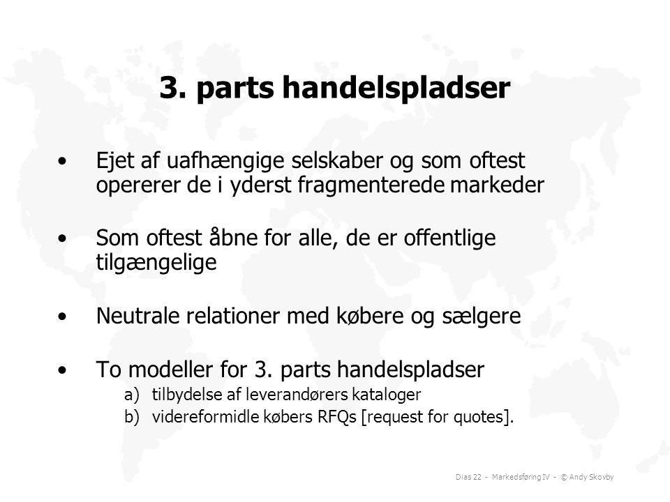 3. parts handelspladser Ejet af uafhængige selskaber og som oftest opererer de i yderst fragmenterede markeder.
