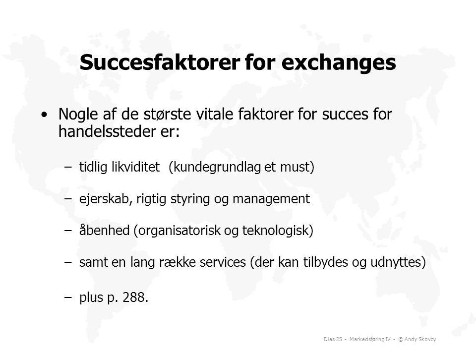 Succesfaktorer for exchanges