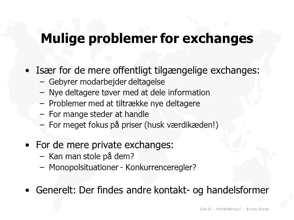 Mulige problemer for exchanges