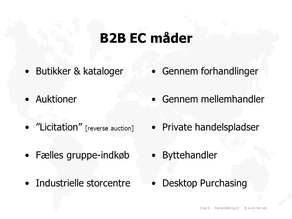B2B EC måder Butikker & kataloger Auktioner