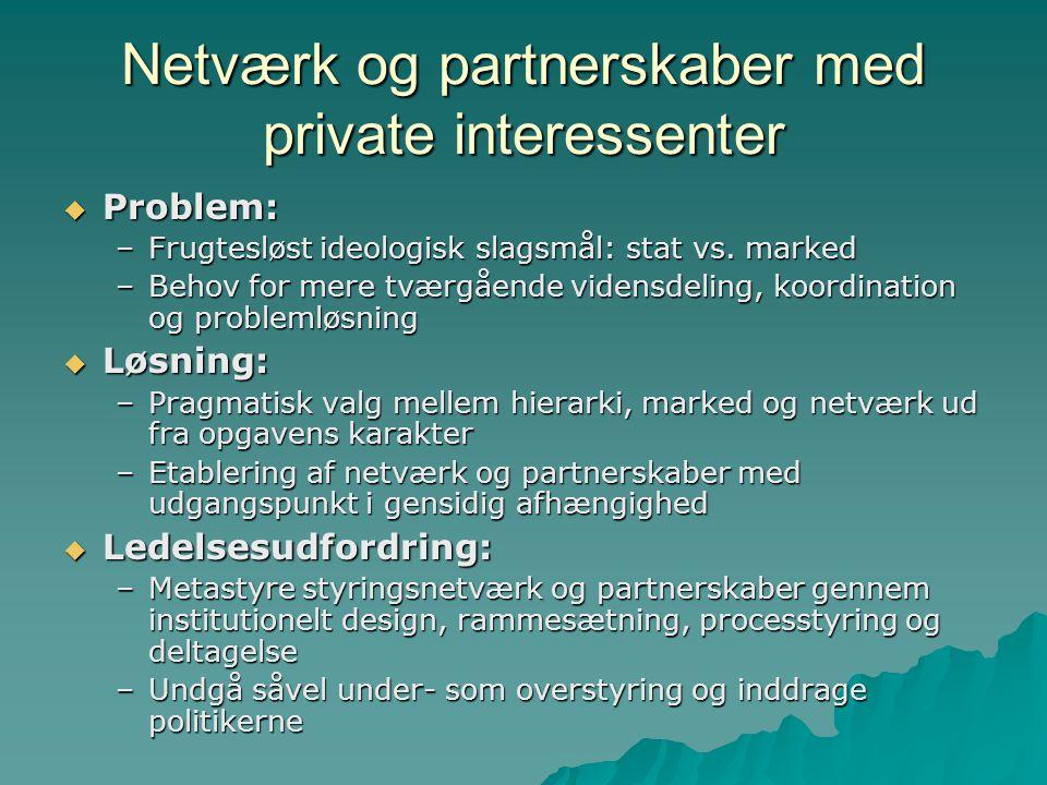 Netværk og partnerskaber med private interessenter