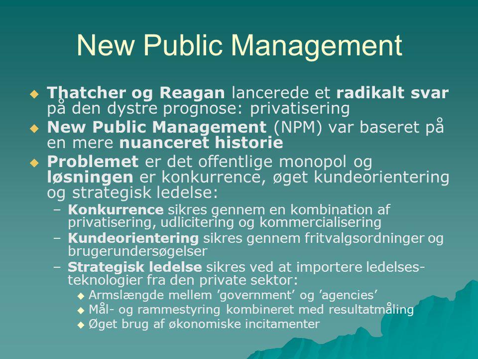 New Public Management Thatcher og Reagan lancerede et radikalt svar på den dystre prognose: privatisering.