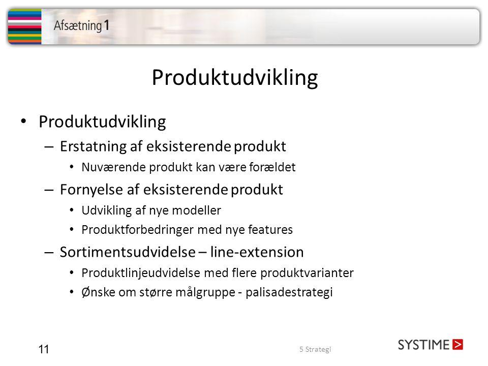 Produktudvikling Produktudvikling Erstatning af eksisterende produkt