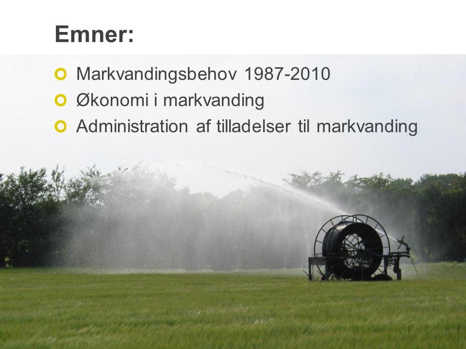 Emner: Markvandingsbehov 1987-2010 Økonomi i markvanding