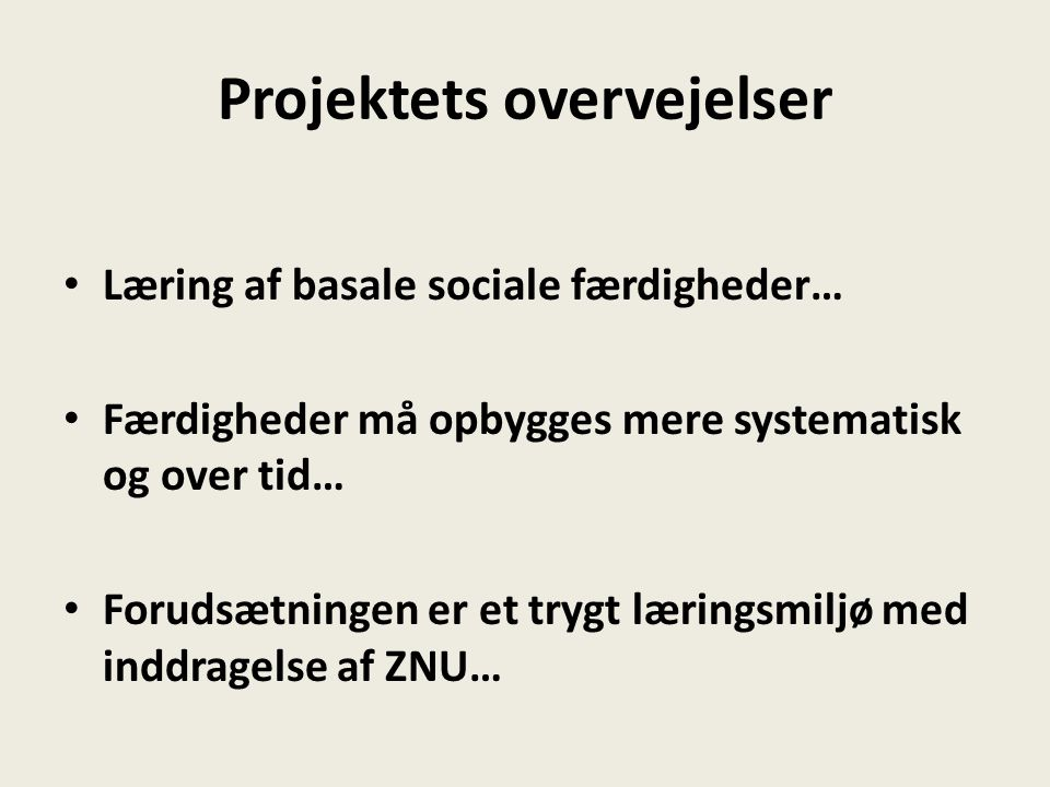 Projektets overvejelser