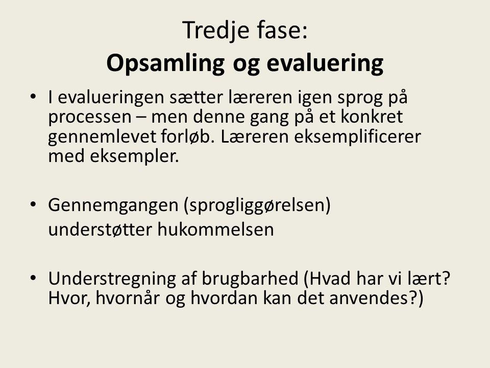 Tredje fase: Opsamling og evaluering