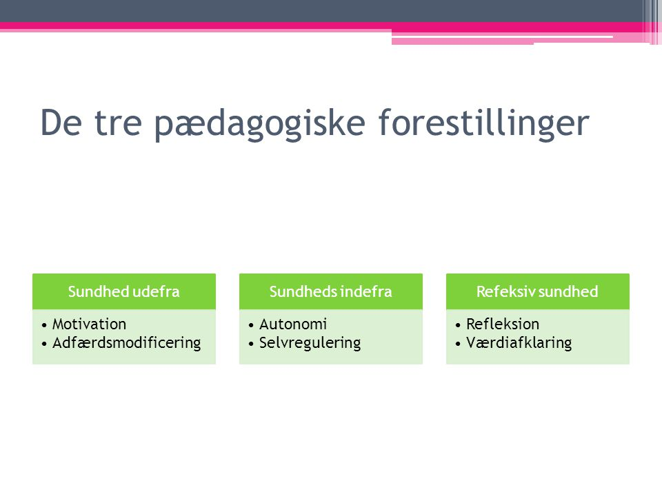 De tre pædagogiske forestillinger