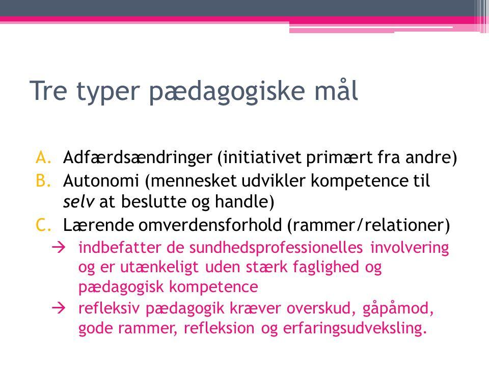Tre typer pædagogiske mål