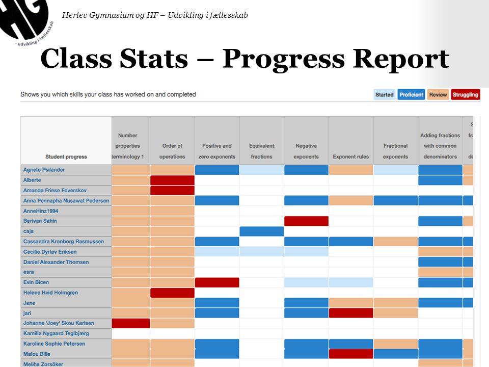Class Stats – Progress Report