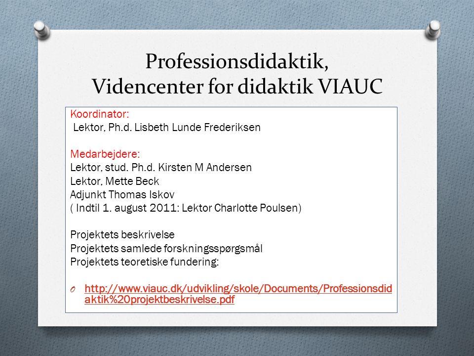 Professionsdidaktik, Videncenter for didaktik VIAUC