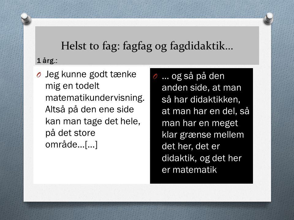 Helst to fag: fagfag og fagdidaktik…