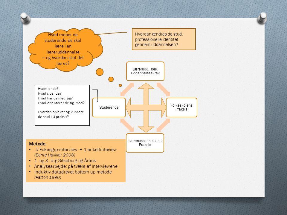 5 Fokusgrp-interview + 1 enkeltinteview (Bente Hallkier 2008)